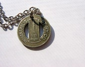 Indianapolis vintage 1910 1920 silver railway token necklace