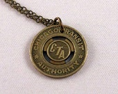 FOR TERROMUR ONLY - 2 Early 1990's Reduced Fare Chicago Transit Authority brass subway tokens necklaces