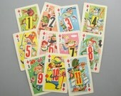 Vintage Whitman Playing Cards, Crazy Eights, set of 11