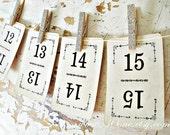 Vintage Number Cards, set of 15