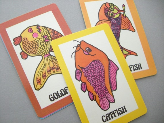 Vintage go fish playing cards set of 11 for How do you play go fish card game
