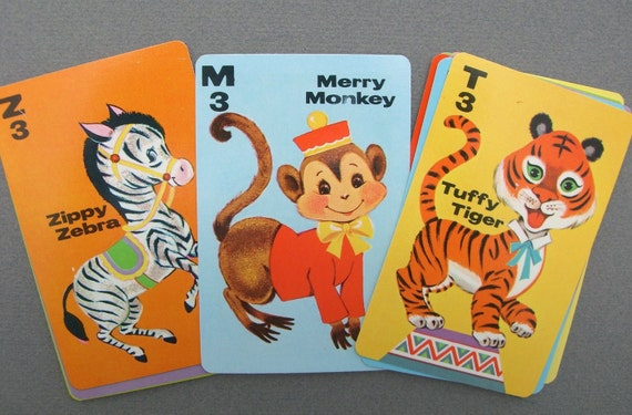 Vintage Animal Rummy Playing Cards, set of 11- From the 1970's