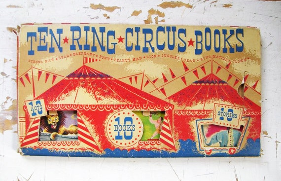 Vintage Circus Books, Ten Ring Circus Books By Capitol Pub Co, A Set of 8 Little Books With A Circus Tent Holder