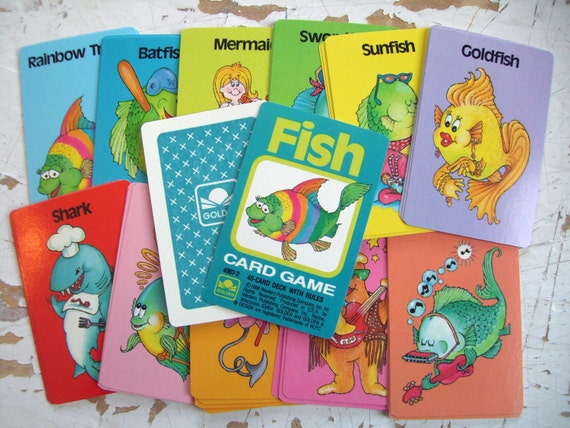 Vintage go fish playing cards complete deck mint by golden for Play go fish