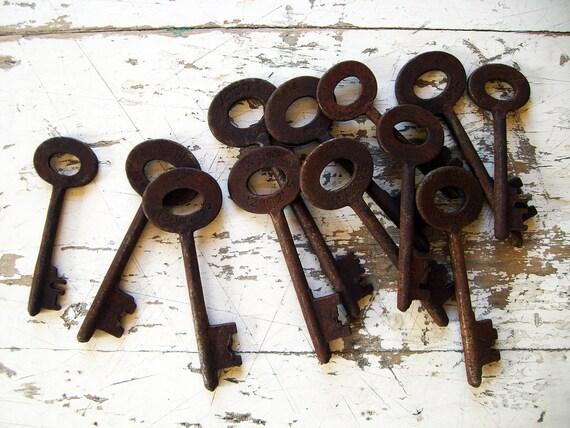 Vintage Skeleton Keys, A Set of Ten