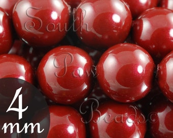 4mm Swarovski Pearl beads, Qty 25, Bordeaux