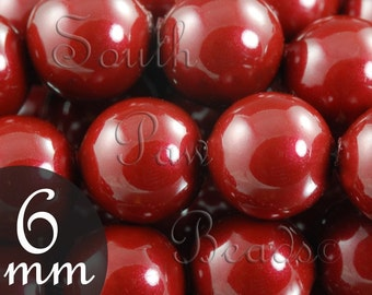 5810 Swarovski glass pearls, 6mm Bordeaux, Qty 25