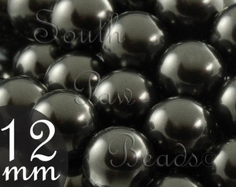 12mm Black Swarovski glass Pearl beads, Style 5810 Black beads 12mm round beads (5)