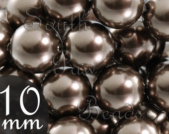 10mm Brown Swarovski glass Pearls, (10)