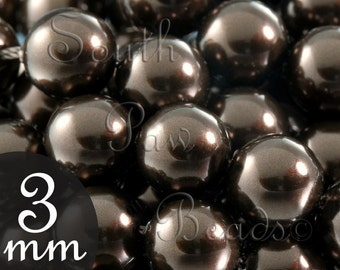 Close Out 3mm Deep Brown Glass pearl beads by Swarovski, Style 5810 (140)