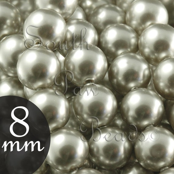 Grey Pearl Beads: Swarovski Crystal 5810 8mm Light Grey Pearl Beads Qty 25