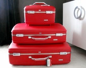 Cherry Red Suitcase Set with Train Case- American Tourister