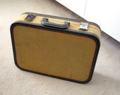 Vintage Straw colored Suitcase with Charcoal Grey Trim