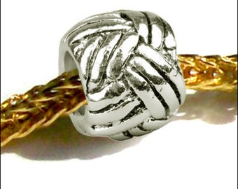 MERZIEs silver plated CHARM bead for European large hole - silver wrap