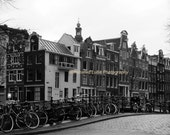SALE Amsterdam Street Scene - 8 x 10 Signed Black and White  Fine Art Travel Photograph by IlluminatedLuna on Etsy