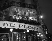 SALE Paris 8x10 Black and White Signed Travel Photograph Print of Cafe de Flore, France by IlluminatedLuna on Etsy