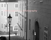 SALE Peaceful Street, Prague - Signed 5 x 7 Black and White Fine Art Photograph, Czech Republic, Europe by IlluminatedLuna on Etsy