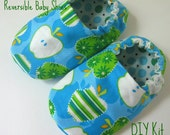 DIY Kit, Reversible Baby Shoes, Green Apples
