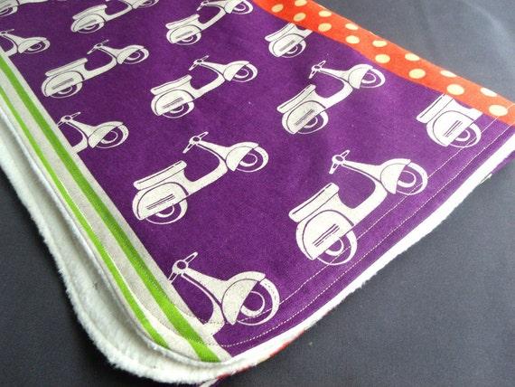 Organic Sherpa Baby Blanket, Echino Scooters