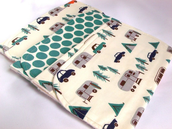 SALE - Organic Contoured Burp Cloths, Happy Campers