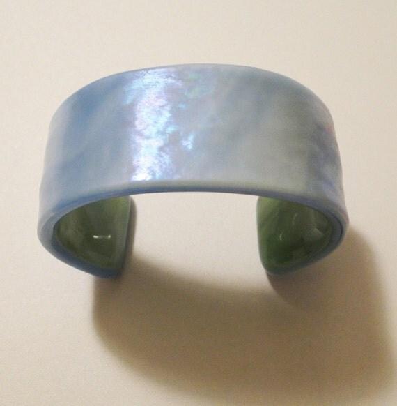 Rainbow Sky Blue Fused Glass Cuff Bracelet