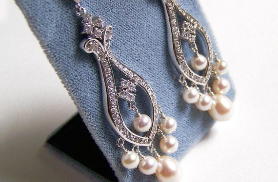 Weddings, Jewelry, Earrings, Bridal, Chandelier Earrings, Swarovski Pearl, Crystal, Ivory, Freshwater Pearl: Karin Earrings