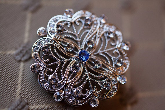 Something Blue CZ Brooch