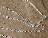 Silver Chain 100 Foot  FT Full Spool Cable Curb Chain Silver Plated Copper Bulk Feet Wholesale Lead Free