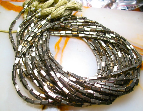 Elongated Rectangle Cube Gold Pyrite Beads 16 Inches Natural Stone