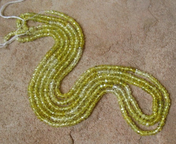Very RARE Natural GREEN Zircon Rondelle Beads 1/2 Strand