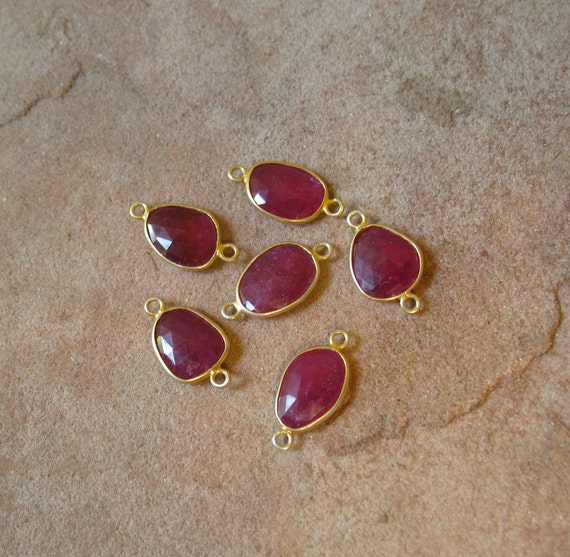 Rare Tanzania Bright Pink Ruby Big Connector Spacer Bead 18kt Gold Vermeil QTY1