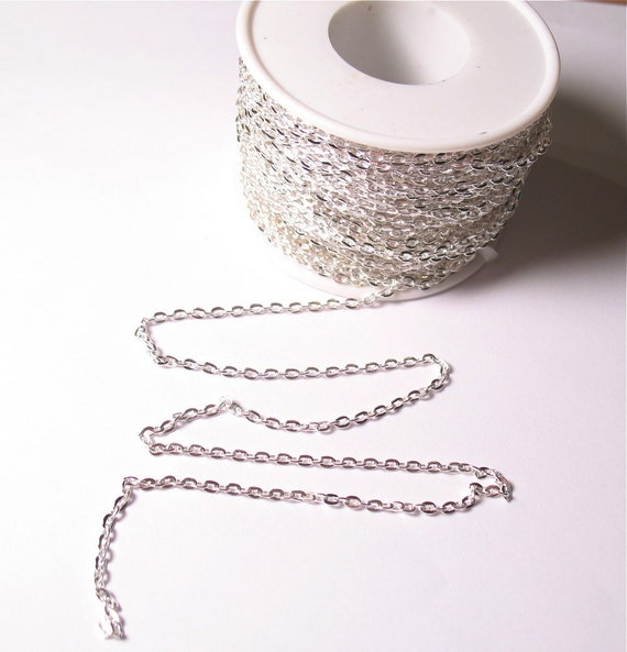 Bulk 100 Feet FT Full Spool Cable Chain Silver Plate 2mm x 3.5mm