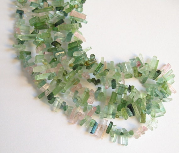 1/2 Of 16 Inch Strand Of Afghan Green Pink Tourmaline Pencil Stick Briolette Beads