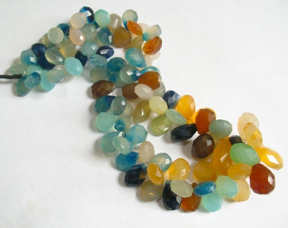 Colorful Chalcedony In Shades Of Van Gogh Sunflowers Blues Golds Briolette Beads 610CTS