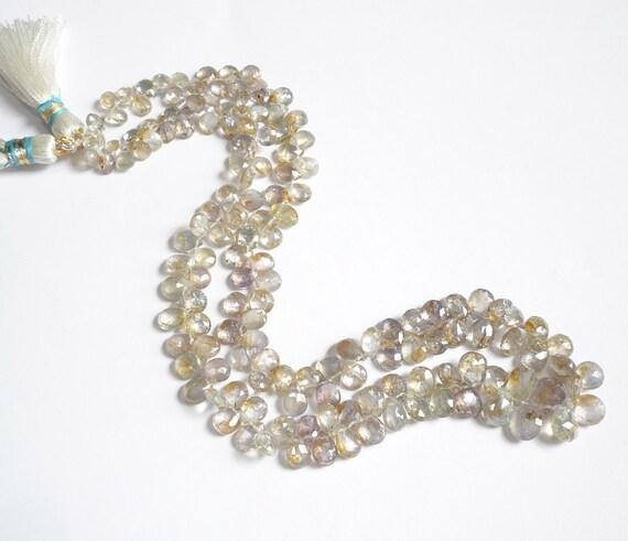 White Diamond Sapphire Briolettes 16 Inches