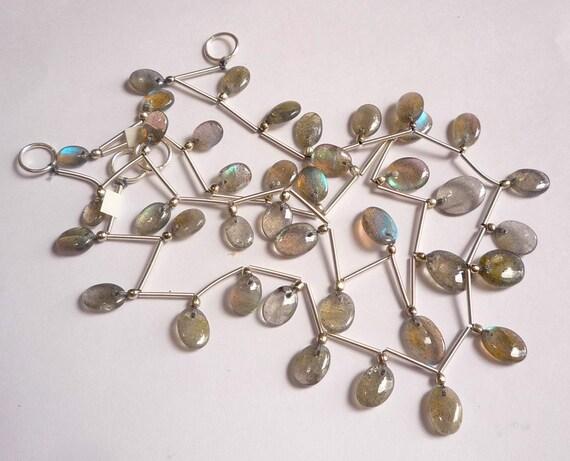 Firey Labradorite Slice Free Form Briolette Beads 10 Inches
