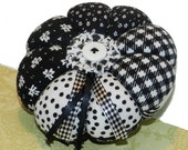 Large black and white patchwork pin cushion, pincushion, pinnie, Ready to Ship