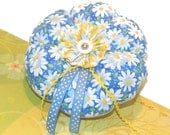 Blue Pincushion with white daisies and yellow back. Large handmade pretty.