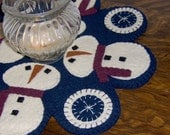 Circle of Snow Penny Rug E Pattern, Candle Mat, Wool Felt Applique