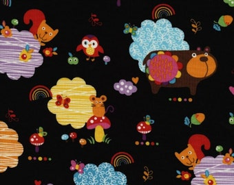 Timeless Treasures Momo by Alice Kennedy - Woodland Animals TT6736 Black - 1 yard