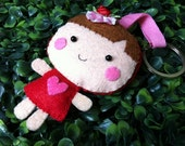Little Girl in RED dress Plush Keychain