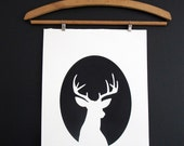 Poster - Deer Cameo hand pulled print