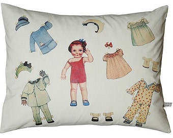 Paper doll pillow/cushion on organic cotton, Leni
