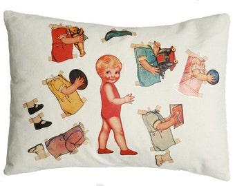Pillow, cushion, vintage paper doll, Emma