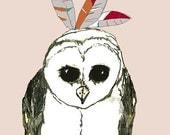 Owl Art - Feather Fashion Illustration