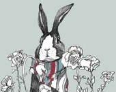 Rabbit In Bear's Garden - Art Print