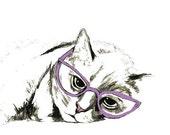 Sleepy Cat With Glasses - Cat Art Print