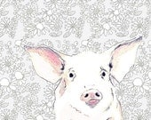 Pig Art Print - Love Me Some Pig With Wallpaper Background - Nursery Art