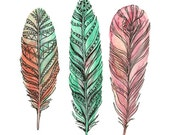 Feather Art - Three Feathers - Feather Watercolor Art