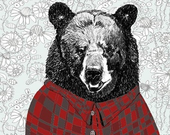 Bear Art - Bear Drawing - Bear Decor - Bears Love Flannel Shirts With Wallpaper Background - Bear Art Print